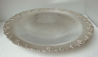 """Vint. 14"""" Silverplate ROUND SERVING PLATTER TRAY DISH Footed Grape Motif FEDERAL"""