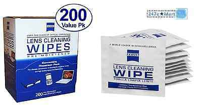 NEW! Zeiss Pre-Moistened Lens Cloths Wipes 200 Ct, Glasses Camera Phone Cleaning