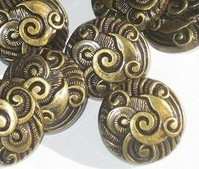 FANCY Ornate Set 14 Vintage New Brass Tone Buttons 7/8""
