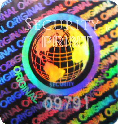 49x WORLD ORIGINAL Hologram Silver stickers labels + Serial No's 20mm S20-1SSN