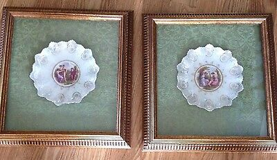 2 Beautiful Antique Porcelain Victorian Plates in  Gold Shadow Box Frames