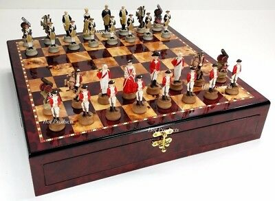 American Revolutionary War CHESS SET CHERRY COLOR STORAGE BOARD Revolution