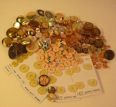 Large LOT Vintage BUTTONS Yellow-Ivory-Gold LOT #2 MIXED MATERIALS