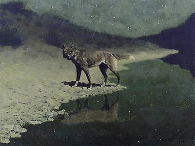 Frederic Remington MOONLIGHT WOLF giclee repro canvas