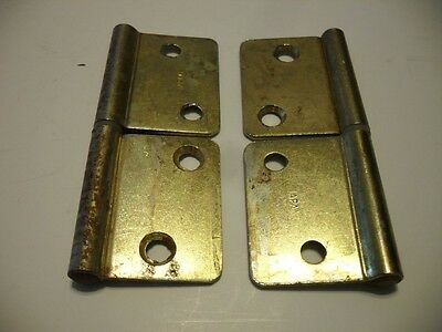 Vintage Satin BRASS Plated Cabinet Hinges for Flush Mounted Doors