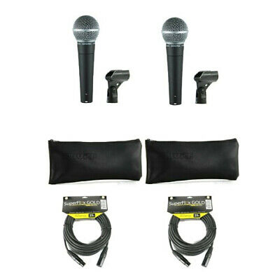(2) Shure SM58 Cardioid Dynamic Stage Studio Vocal Microphone Mic