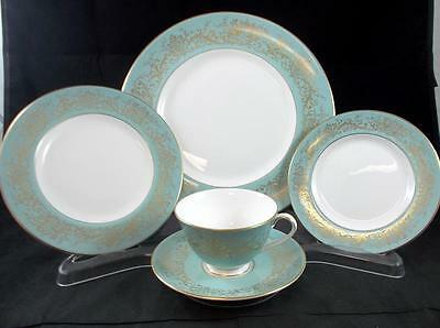 Royal Doulton DELAMERIE TURQUOISE 5 Piece Place Setting H4968 GREAT CONDITION