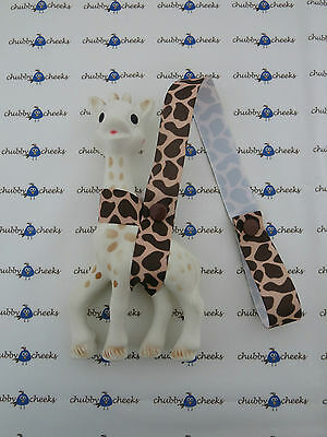 Sophie The Giraffe Harness Toy Saver Strap Leash, Brown Tan Giraffe Pattern