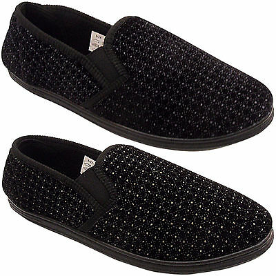 New Mens Gents Velour Hard Sole Soft Comfort Velour Gusset Slippers Shoes Size