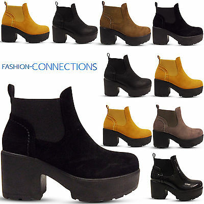 Ladies Childrens Girls Mid Low Chunky Block Heel Chelsea Ankle Boots Shoes Size