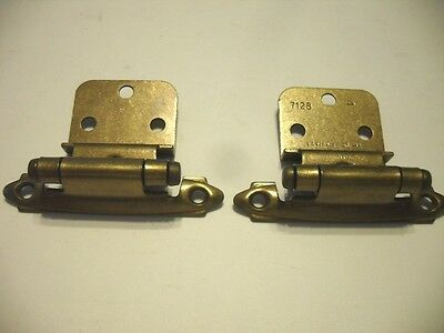 "Vtg NOS Antique Brass Plated Steel Hinges 3/8"" Inset Cabinet Doors Self-Closing"