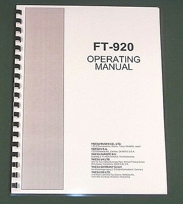 Yaesu FT-920 Operating Manual -  Premium Card Stock Covers & 32 LB Paper!