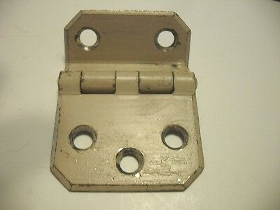 "1 Single VINTAGE Chippy White Steel Cabinet Door HINGE 3/8"" Offset Style"