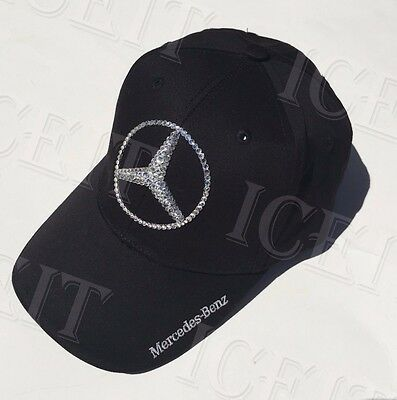 Mercedes Benz Logo Adjustable Cap With Swarovski Crystals (Black)
