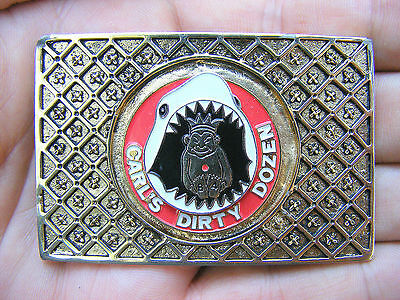 Vtg JESTERS Belt Buckle 1984 Shark ROJ Masonic GOLD Shriners RARE VG++