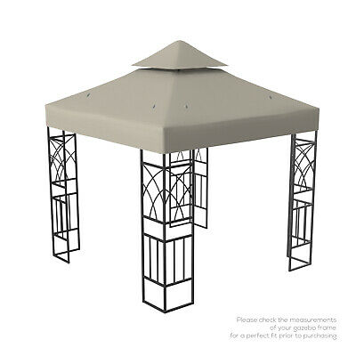 Kenley 2-Tier Gazebo Pavilion Roof Top Cover Canopy Replacement – 3x3m – Beige