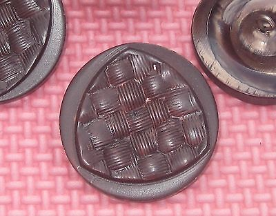 RELIEF Fancy Carved Set 4 Vintage New LARGE Buttons METAL Shank 1 & 1/2""