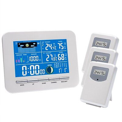Risepro Wireless Colorful Weather Station In/Outdoor 3 Sensor Humidity Barometer