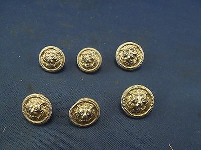 Lot of 6 Silvertone Small Metal Buttons Lion Crest Sweater Buttons
