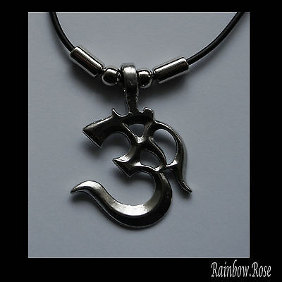 Choker #379 Pewter Om AUM (45mm x 35mm) Absolute HINDU Spiritual Cord Necklace