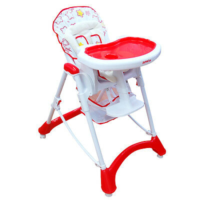 BABY Foldable Reclining HIGH CHAIR Adjustable SAFE highchair with Basket Red