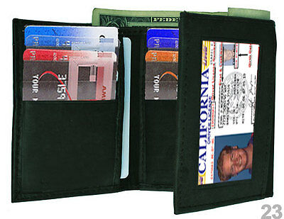 Black Genuine Leather Id Window 12+ Credit Cards Mens Trifold Wallet