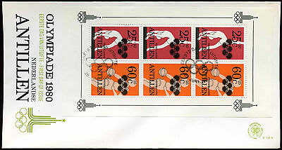 Netherlands Antilles 1980 Sports Fund M/S FDC First Day Cover #C26709