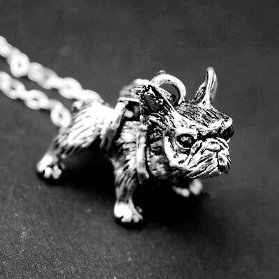 3D French Bulldog Frenchie Dog Charm Pendant Necklace Antique SilverTone Pewter