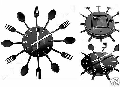 Modern Design Style Black Cutlery Kitchen Utensil Wall Clock Spoon Fork Watch