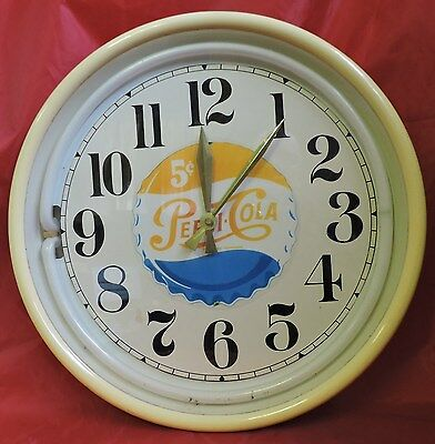 "Battery Operated Pepsi Cola 15"" Wall Clock 5 Cents"