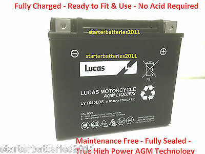 Lucas YTX20L-BS Motorcycle Battery - OEM Replacement - 12V 18AH 270CCA 1 Yr Wrnt