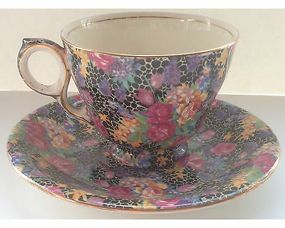 Vintage Royal Winton Black Hazel Chintz Cup and Saucer