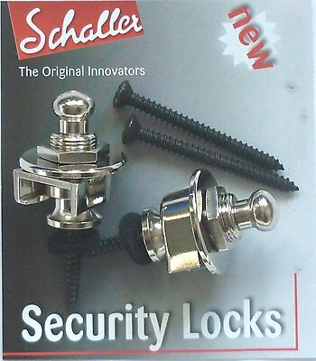 GENUINE SCHALLER Guitar Strap Locks NICKEL 445  security locks