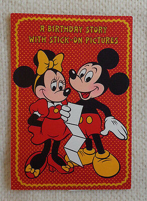 Vintage 1980 MICKEY & MINNIE MOUSE Birthday Greeting Card 4 Panels