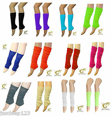 Ladies Girls Teen 80s Disco Leg Warmers Plain Coloured Neon 13 Colours Tutu