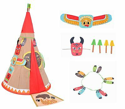 Vinsani Childrens Kids Teepee Indian History Pop-up Indoor Outdoor Play Tent