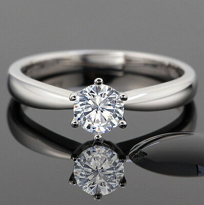 1 ct Solitaire Diamond Sterling Silver Vintage Engagement Ring + FREE SHIPPING