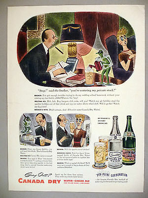 Canada Dry Water & Ginger Ale PRINT AD - 1943 ~ R. Taylor art