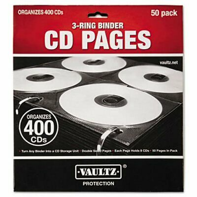 Vaultz Two-Sided CD Refill Pages for Three-Ring Binder, 50/Pack (IDEVZ01415)