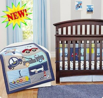 New Baby Boys 7 Pieces Transport Dog Cotton Nursery Bedding Crib Cot Sets