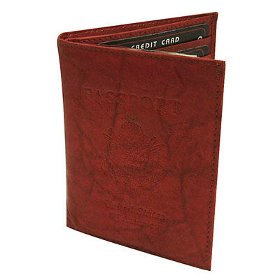 BROWN USA PASSPORT PREMIUM COWHIDE LEATHER COVER Travel Card Case Wallet New