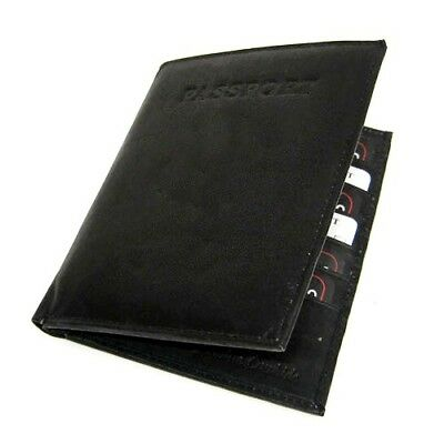 BLACK INTERNATIONAL PASSPORT PREMIUM COWHIDE LEATHER COVER Travel Card Case Wall