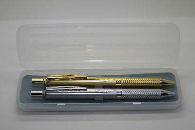 2 X Pentel Energel Alloy RT Retractable Gel Pen 0.7mm SILVER AND GOLD BARREL