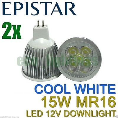 2 X LILIANO LED MR16 15W 12V bulb downlight globe lamp COOL WHITE NON DIMMABLE