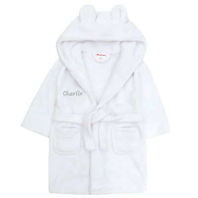 Embroidered Personalised Soft Baby White Dressing Gown Bath Robe Teddy EARS