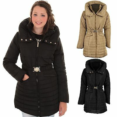 Ladies Quilted Padded Belted Puffer Black Beige Women's Winter Jacket Coat 8-14