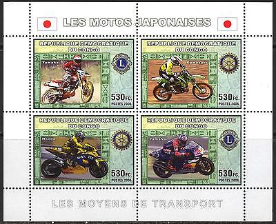 Congo 2006 Japanese Motorcycles Motorbikes Yamaha Rotary Lions Club S/S MNH**