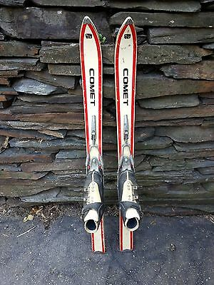 "VINTAGE  Wooden 41"" Skis with Bindings and Skis are Signed COMET and Have Boots!"