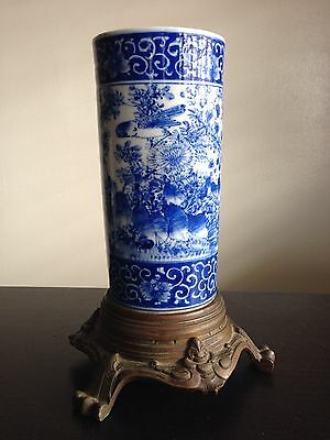 Fine Antique Chinese Blue White Porcelain Brush Pot Bronze 3 Claw Stand WOW