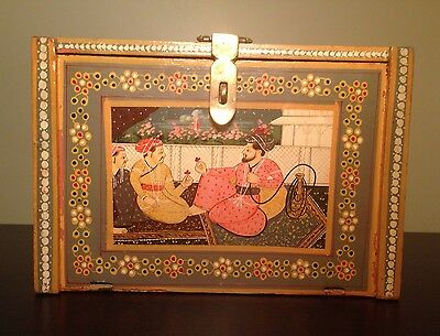 Fine Old Persian Indian Hand Painted STUNNING Jewelry Chest Brass Multi Drawer